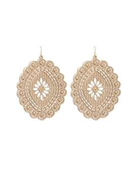 Scalloped Floral Drop Earrings by Forever 21