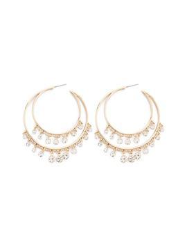 Rhinestone Double Hoop Earrings by Forever 21
