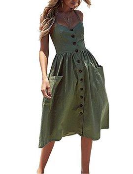 Women's Sundress Summer Flowy Button Down Spahetti Strap Midi Dress With Pockets by Sweetnight