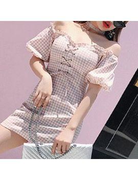 Stark   Short Sleeve Off Shoulder Plaid Mini Sheath Dress by Stark