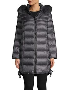 Fox Fur Trim Hooded Puffer Jacket by 1 Madison