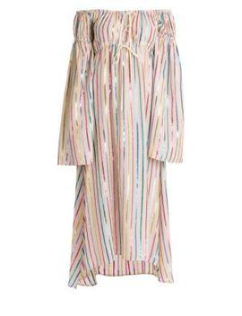 Lurex Striped Off The Shoulder Dress by Attico