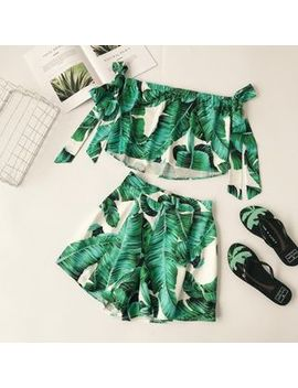 Lucuna   Set: Printed Strapless Top + Printed Shorts by Lucuna