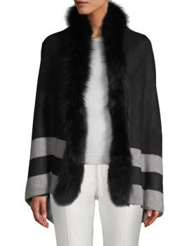 Fox Fur Trimmed Open Front Poncho by Adrienne Landau