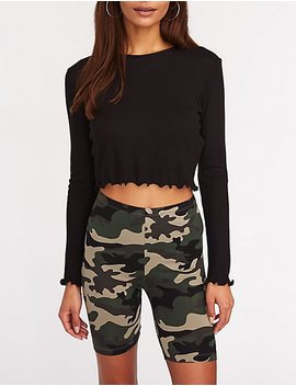 Camo Print Bike Shorts by Charlotte Russe