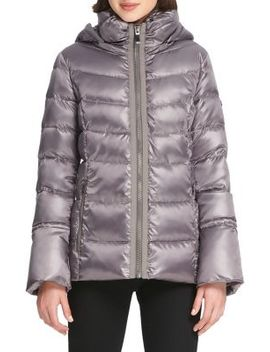 Quilted Hooded Down Jacket by Donna Karan