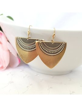 Antique Gold Art Deco Earrings, Statement Earrings, Gold Earrings, Geometric Earrings, Ethnic Earrings, Boho Earrings, Plated Or Gold Filled by Etsy