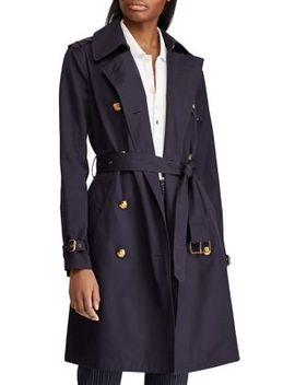 Double Breasted Cotton Trench Coat by Lauren Ralph Lauren