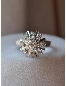 Bright And Wintery Snowflake Like Vintage 18 K White Gold Diamond Cluster Ring by Etsy