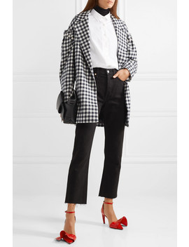 Emmett Belted Faux Pearl Embellished Gingham Wool Jacket by Mother Of Pearl