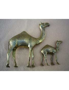 """Brass Camels, Mother And Baby, 8.5"""" And 4.25"""" Tall (21.5cm And 11cm), Highly Decorated Animal Figurines by Etsy"""