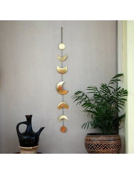 Moon Phases Wall Decor Moon Wall Hanging Brass   Moon Wall Art   Crescent Moon Mobile   Moon Child   Lunar by Etsy