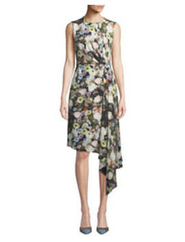 Sleeveless Crewneck Floral Print Silk Crepe Day Dress W/ Side Drape by Adam Lippes