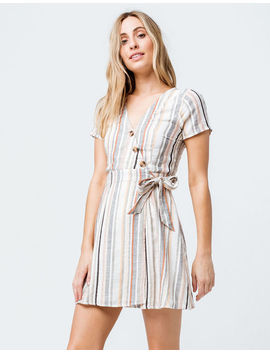 Sky And Sparrow Stripe Button Front Wrap Dress by Sky And Sparrow