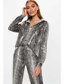 Grey Faux Leather Snake Skin Shirt by Missguided