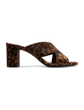 Loulou Mules Aus Kalbshaar Mit Leopardenprint by Saint Laurent