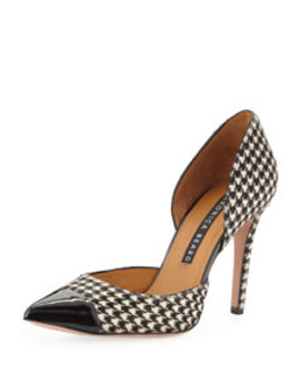 Lyssa High Heel Houndstooth D'orsay Pumps by Veronica Beard