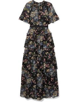 Gestufte Robe Aus Chiffon Mit Fil Coupé Und Blumenprint by Needle & Thread