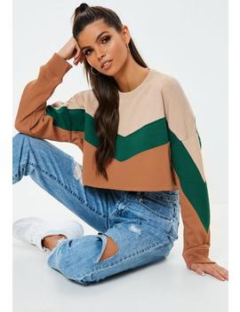 camel-colourblock-crop-sweatshirt by missguided