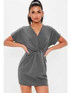 grey-knot-front-shift-dress by missguided