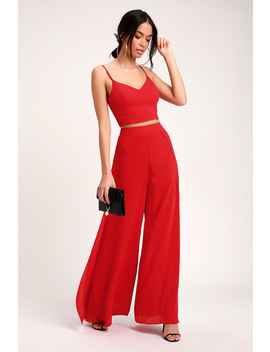 Out Tonight Red Two Piece Jumpsuit by Lulus