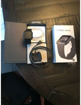 Like New Fitbit Versa Fb504 Gmbk Smartwatch Black (Small & Large Bands Included) by Fitbit