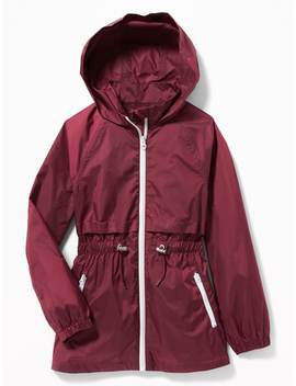 Water Resistant Hooded Windbreaker For Girls by Old Navy