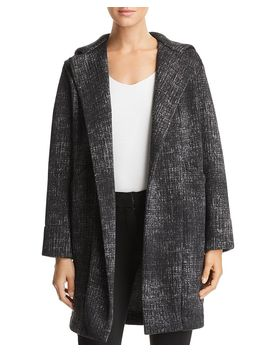 Fleece Hooded Open Front Jacket by Capote