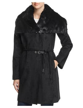 Faux Shearling Double Belted Coat by Calvin Klein