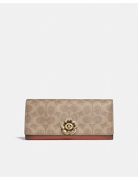 Envelope Wallet In Colorblock Signature Canvas With Tea Rose Turnlock by Coach