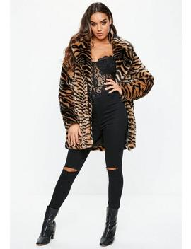 Tiger Print Faux Fur Coat by Missguided