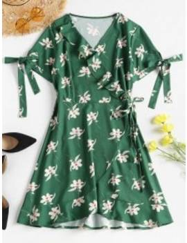 Floral Print Ruffles Wrap Dress   Medium Forest Green S by Zaful