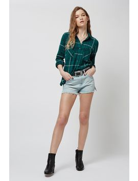 Petite Teal Check Shirt by Topshop