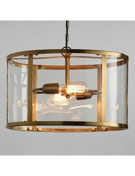 Glass And Antique Brass Oval 2 Light Chandelier by World Market