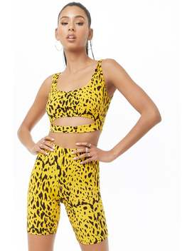 Cheetah Print Crop Top & Biker Short Set by Forever 21