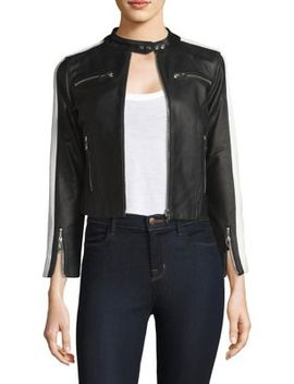 Zip Up Stripe Arm Leather Jacket by The Mighty Company