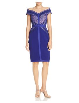 Off The Shoulder Lace Trimmed Sheath Dress by Tadashi Shoji