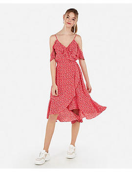 Printed Cold Shoulder Ruffle Wrap Midi Dress by Express