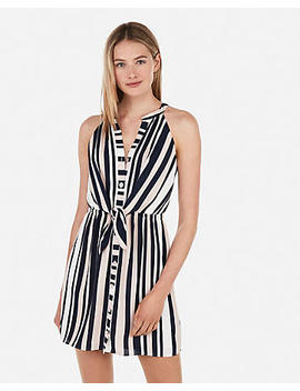 Striped Tie Front Sleeveless Shirt Dress by Express