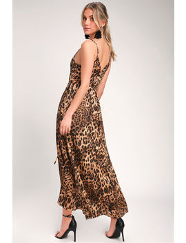 Wildly Wonderful Leopard Print Satin Maxi Wrap Dress by Lulus