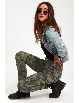 Harlie Olive Green Camo Print Skinny Jeans by Lulus