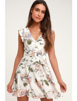 Garden Love Cream Floral Print Backless Skater Dress by Lulus