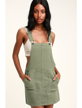 Abigail Sage Green Denim Overall Dress by Others Follow