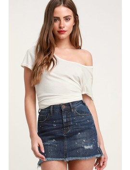 2020 Dark Wash Distressed High Waisted Denim Mini Skirt by One X One Teaspoon
