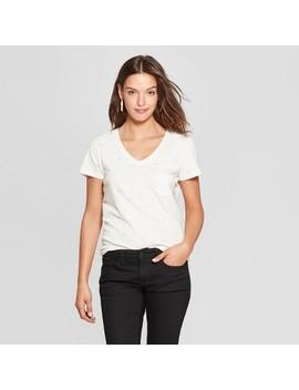 Women's Bow Print Monterey Pocket V Neck Short Sleeve T Shirt   Universal Thread™ by Universal Thread