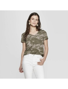 Women's Camo Print Short Sleeve V Neck Monterey Pocket T Shirt   Universal Thread™ Green by Universal Thread
