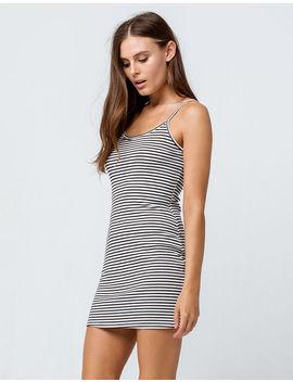 Full Tilt Stripe Ribbed White & Black Bodycon Dress by Full Tilt