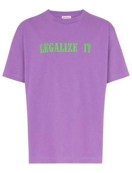 Legalize It Print Cotton T Shirt by Palm Angels