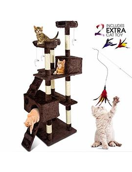 Cat Tower Multi Level Cat Tree With Cat Wand,Scratching Posts,Moving Mouse Cat Toy Playing House For Cats And Kitty Climbing by Topmart