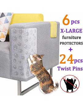 Pro Goleem 6 Pcs Cat Scratching Guard Self Adhesive Couch Guard For Cat Furniture Protector/Cat Scratch Deterrent For Sofa, Chair, Door, Table With 24 Twist Pins For Upholstery (17''×13'') by Pro Goleem